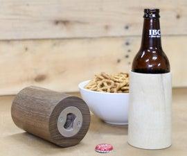Wooden Beer Koozie w/ Built-in Bottle Opener