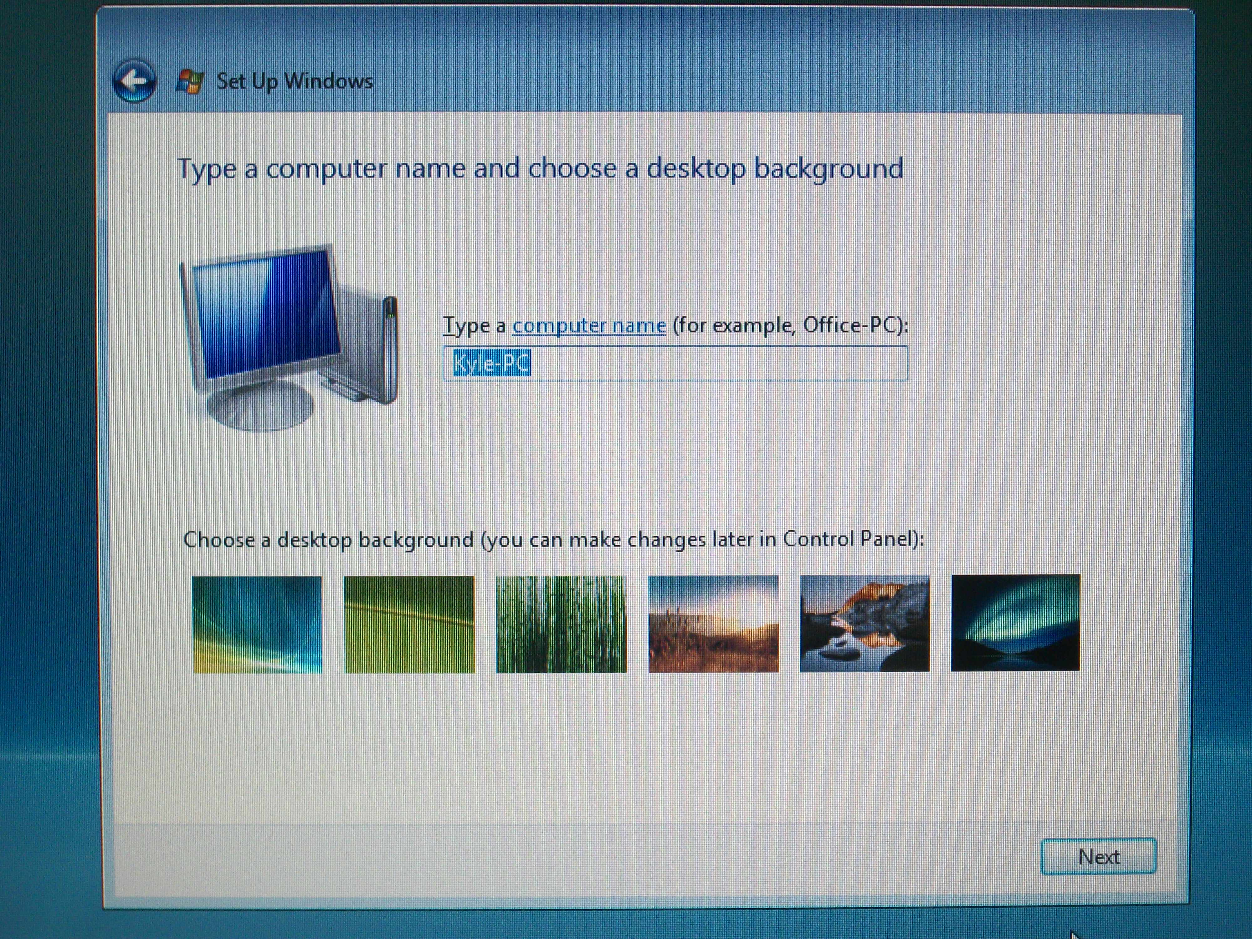 Picture of Computer Name and Desktop Background