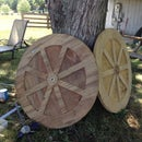 Constructing wagon-type wheels for use on chicken tractors and garden carts