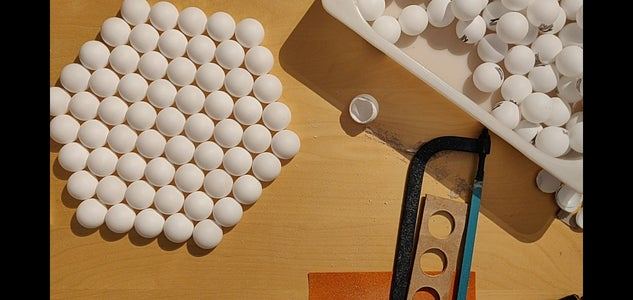 Making Holes in the Ping Pong Balls.