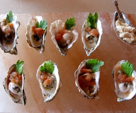 Oysters with Spicy Bloody Mary Sorbet
