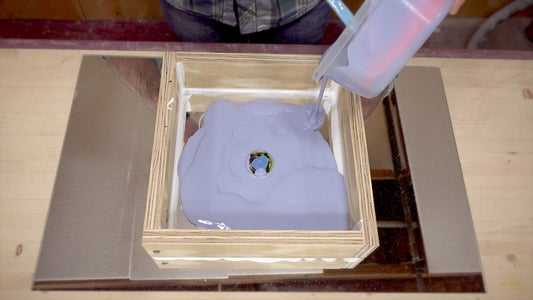 Pouring on the Silicone Rubber