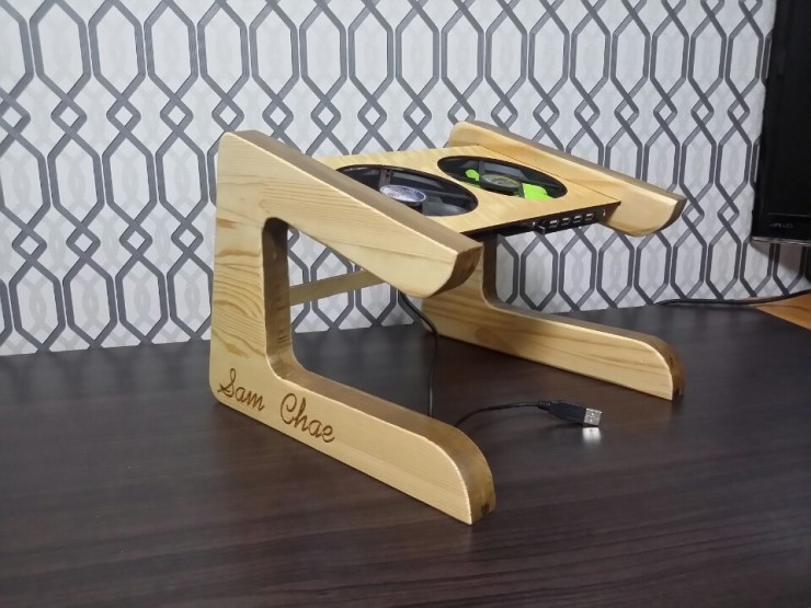 Picture of Custom Designed Laptop Stand From Reclaimed Woods.