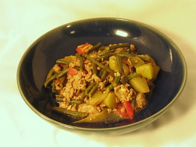 Turkey Sausage With Green Beans and Chayote Squash