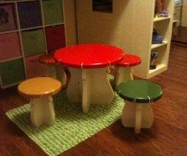 DIY Kids Mushroom Table and Toad Stools updated