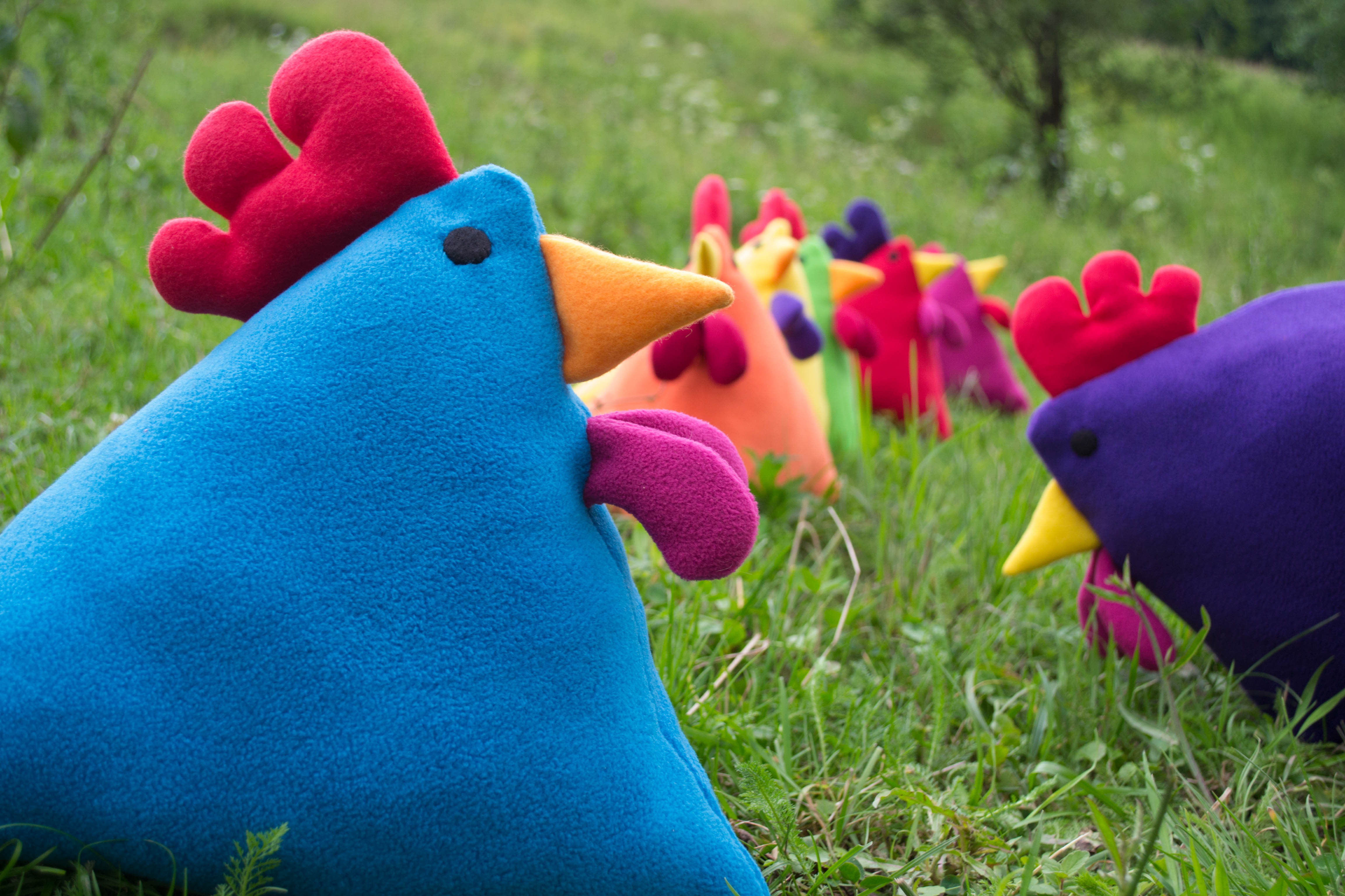 Picture of Rainbow Blue Chicken Pillow