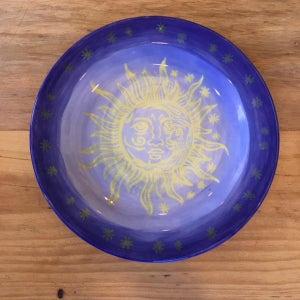 Screen Printed Sun & Moon Ceramic Bisque Plate