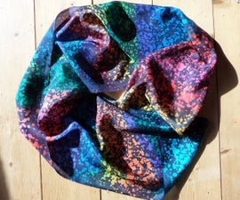 Rainbow Batik Silk Scarf using a teazle!