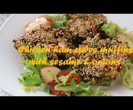 Chicken Ham Cubes Muffins With Sesame & Onions Recipe