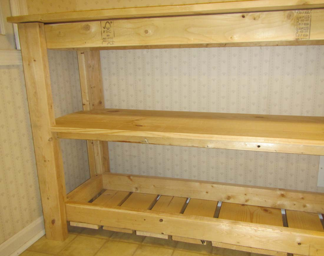 """Picture of Adding 2""""x3"""" Poles to All for Corners to Secure the Middle Shelf"""