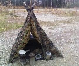 Shoelaces survival shelter