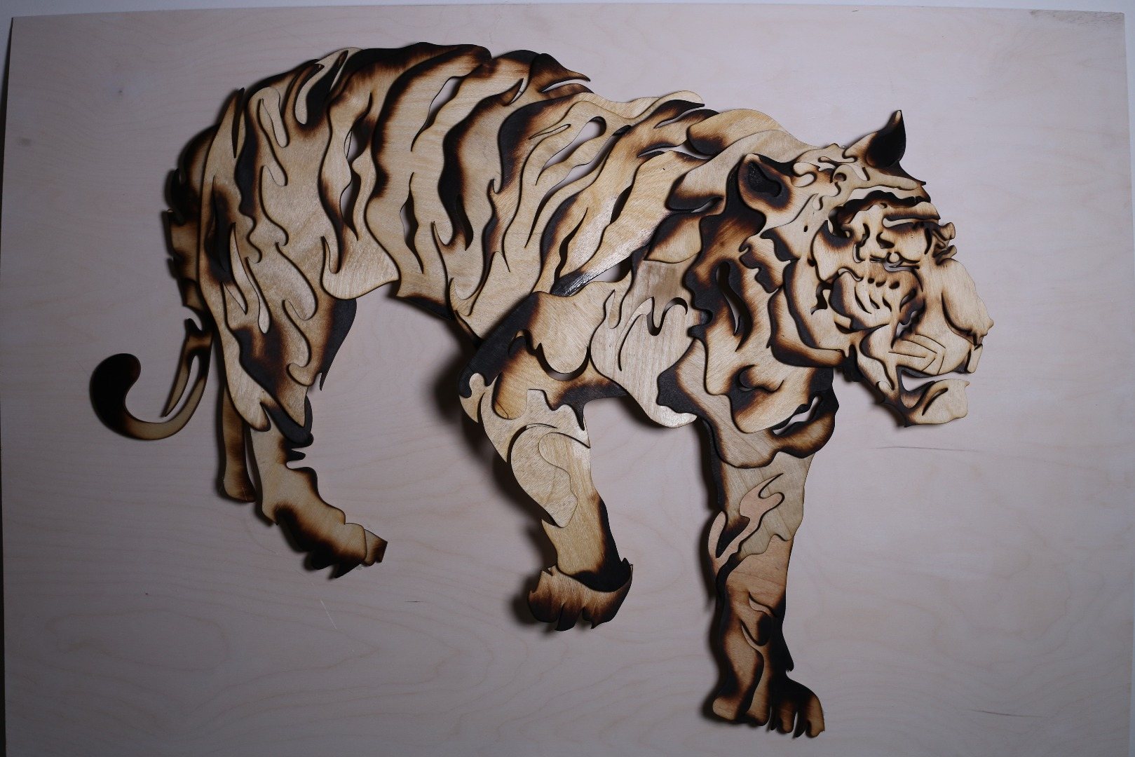 Picture of Tiger Sculpture From Scrap Wood