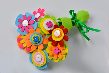 Here Is the Final Look of the Felt Flower Bouquet.