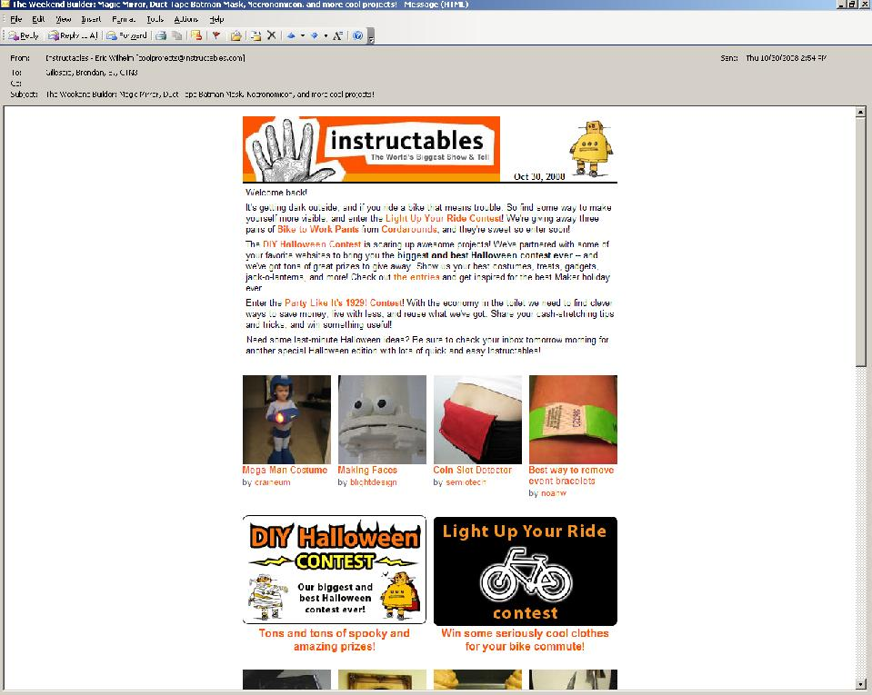 Picture of instructables Email Newsletter: Links will not work.