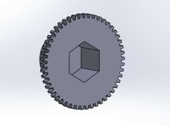 Picture of Extrude Cut That Hexagon for 19mm Into the Bottom of the Gear