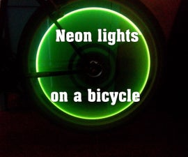 Neon lights on a bicycle