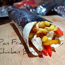 Pan fried chicken burrito