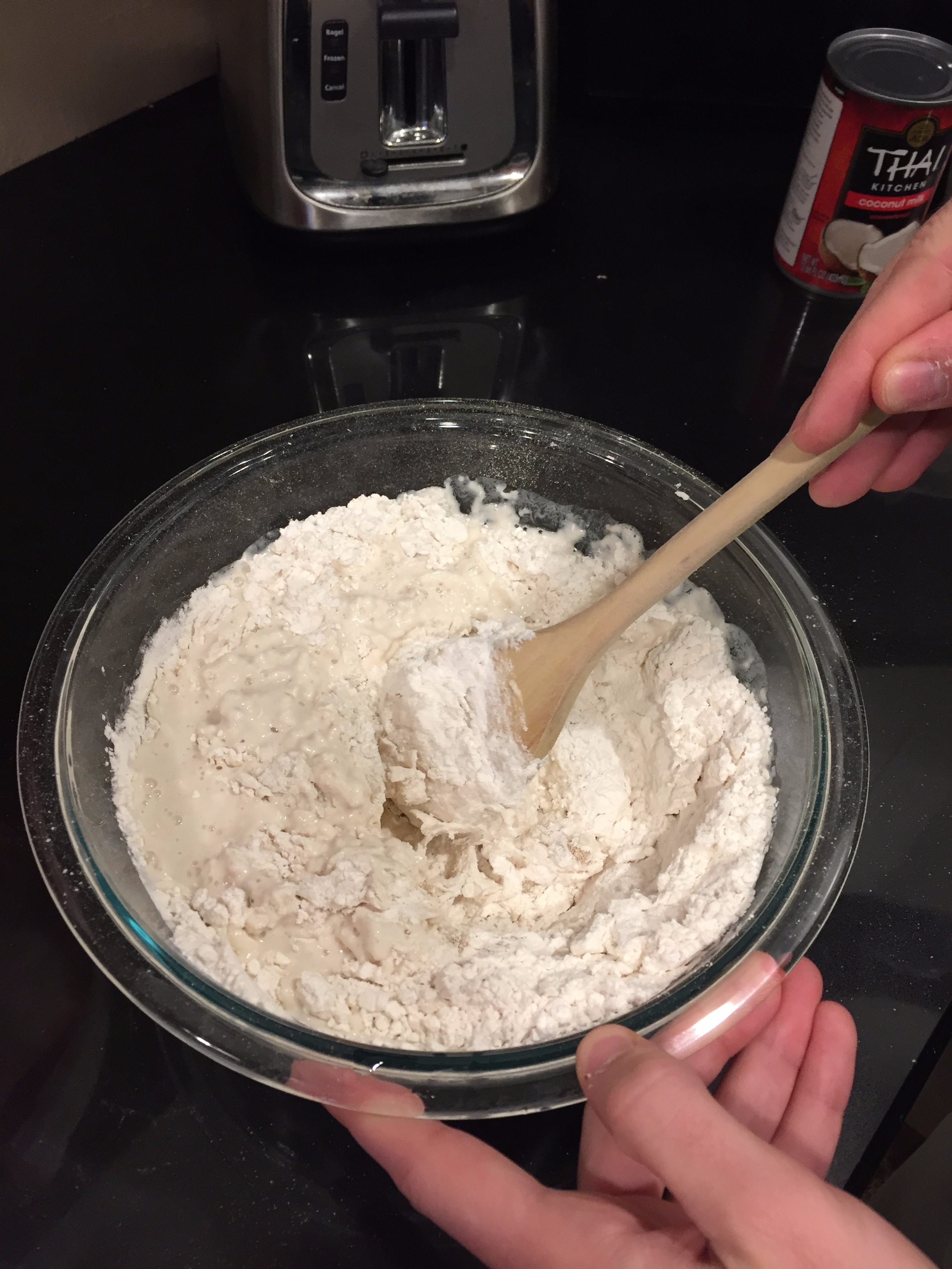 Picture of Add Coconut Milk, Sugar, and Salt to the Dough and Mix