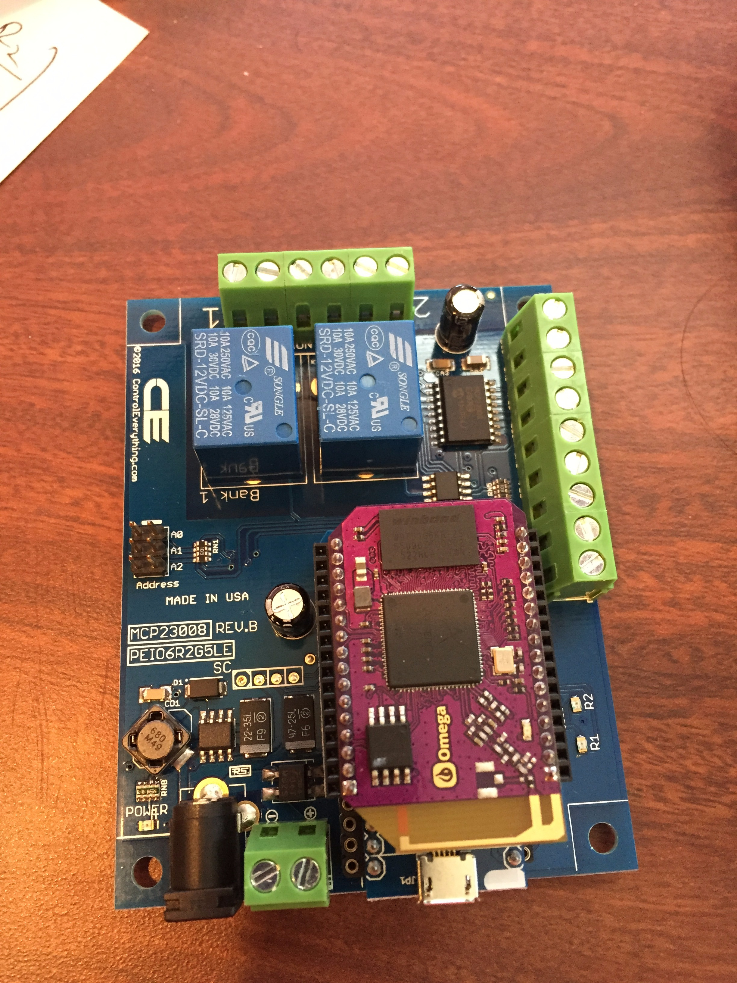 Picture of WebApp Controlled Relay Using Onion Omega 2 & 1