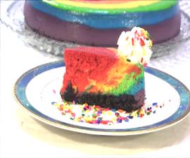 Rainbow Raspberry New York Style Cheesecake