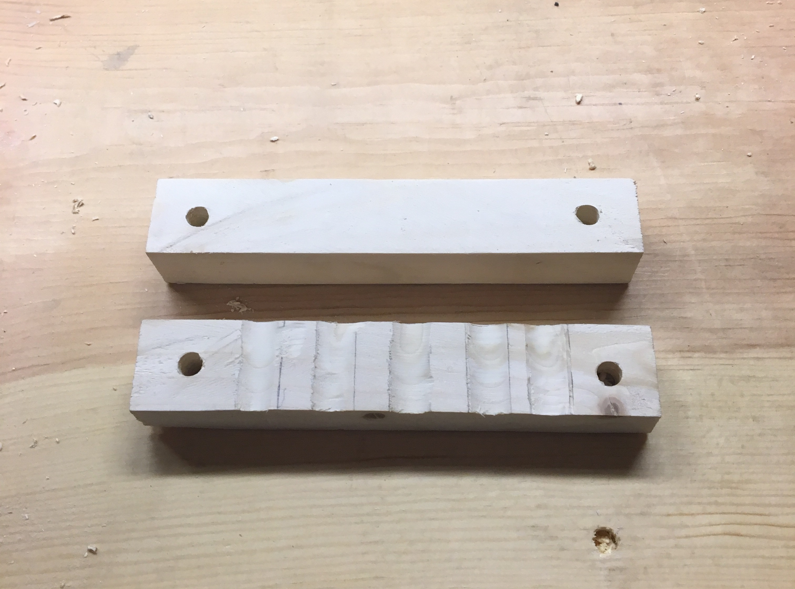 Picture of Get the Wood Pieces Ready to Hold the Popsicle Sticks on Your Kalimba.