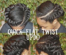Quick Flat Twist Updo Hair Tutorial