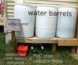 Solar powered pump for water barrels