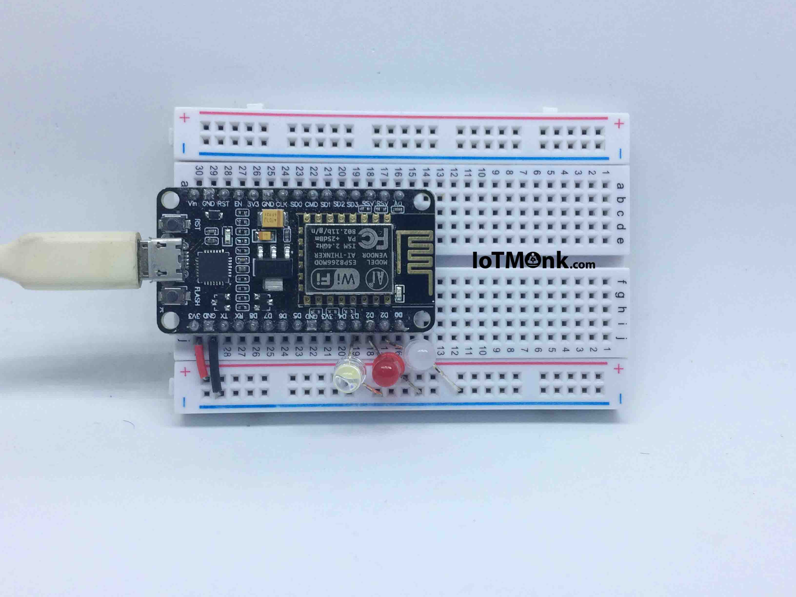 Picture of Setting Up ESP12E NodeMCU on Breadboard With LED