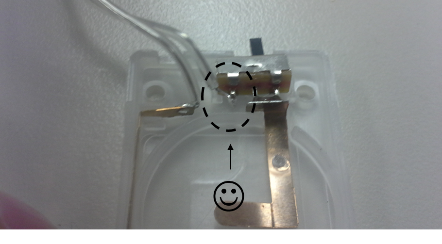 Picture of Connection Between the Battery Pack Cable and the Switch