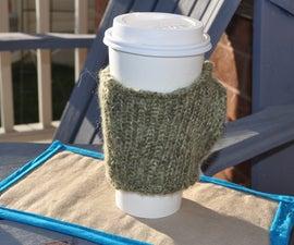 upcycled sweater coffee sleeve/handwarmer