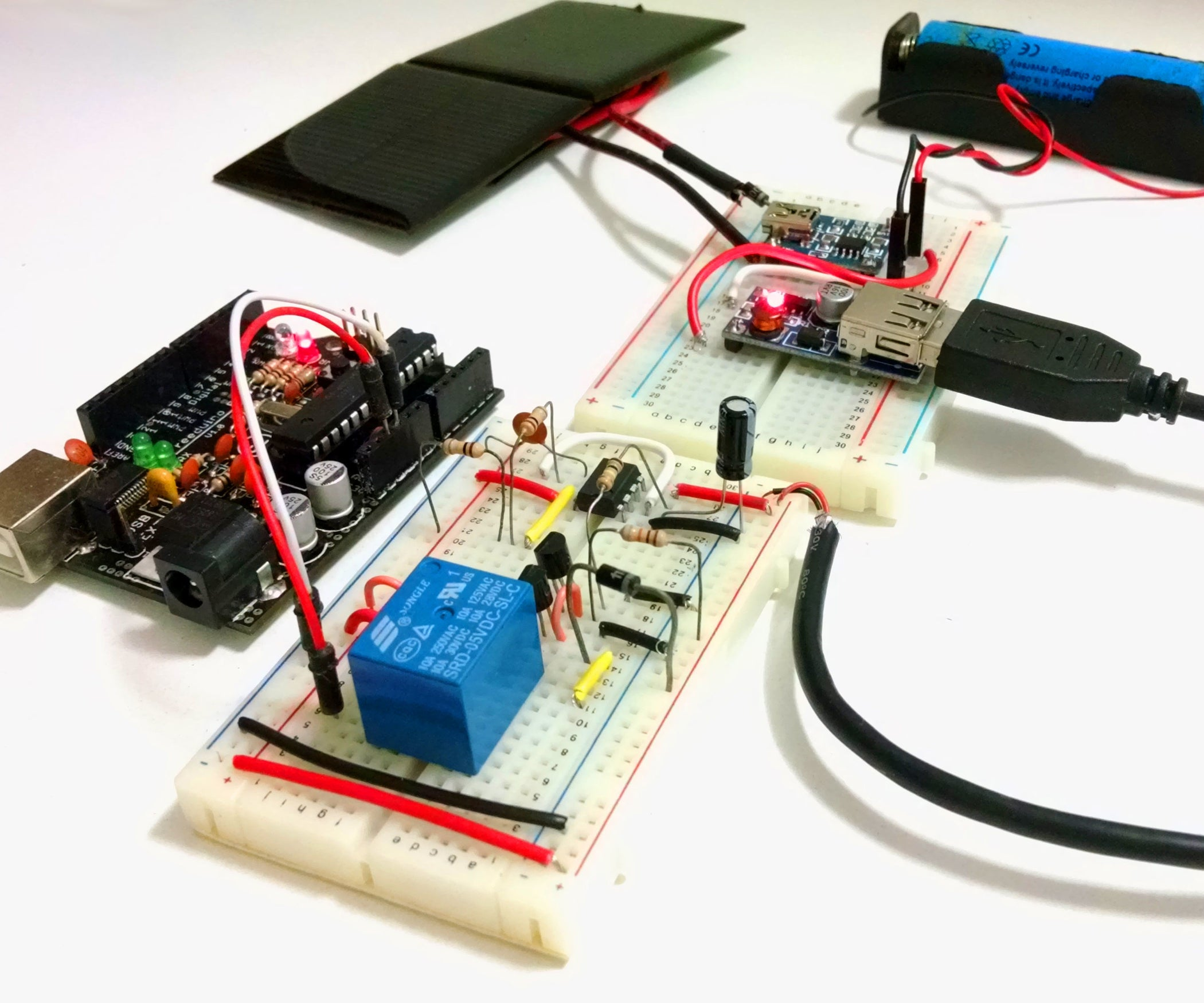 Solar Charged Battery Powered Arduino Uno 7 Steps With Pictures Simple Charger Circuit Batterycharger Powersupplycircuit
