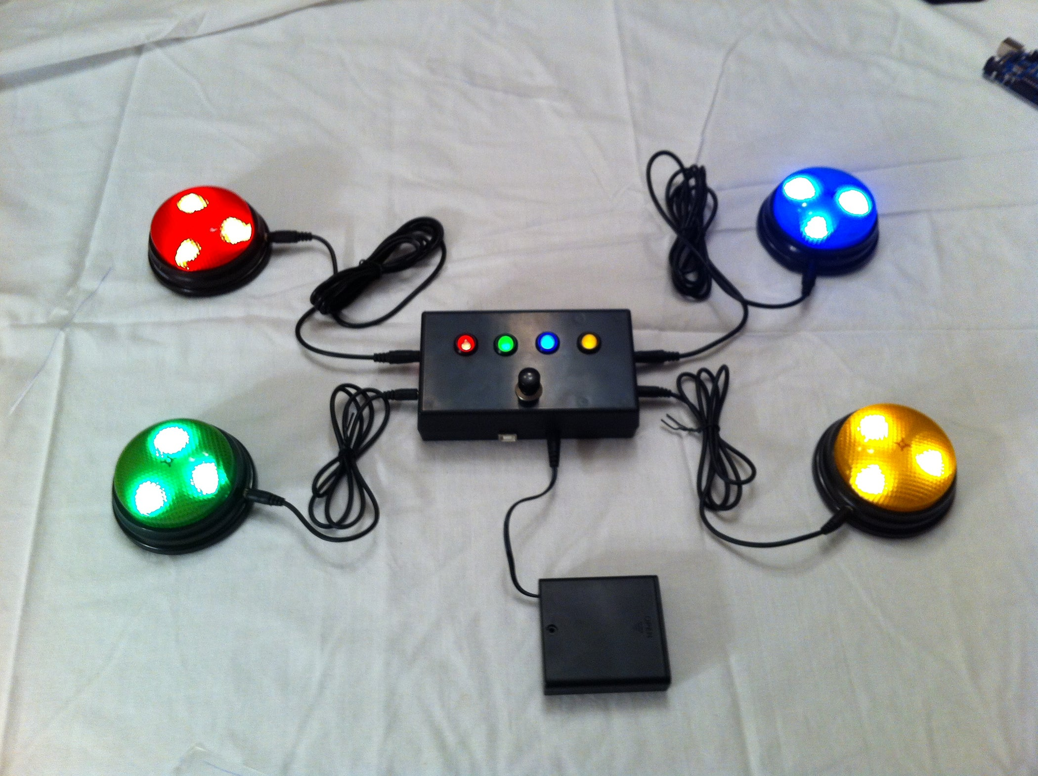 Quiz Game Controller Using Lights And Sounds Buzzers Arduino Diagram To Be Used With Motadacruz39s Music Led Light Box Instructable 5 Steps Pictures