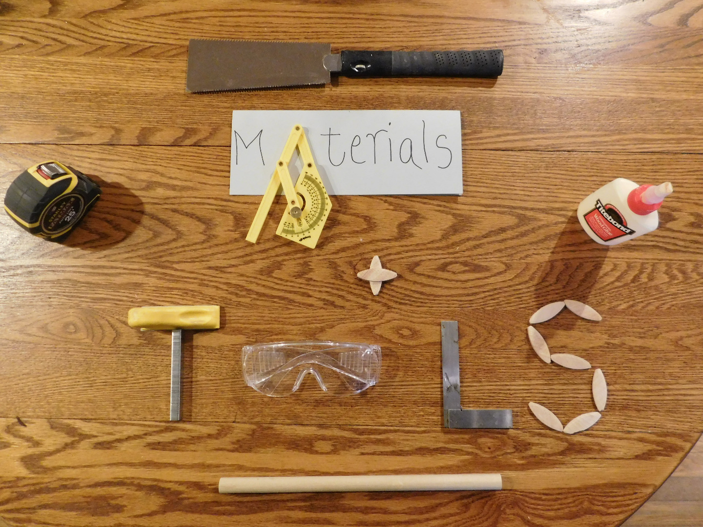 Picture of Materials and Tools List
