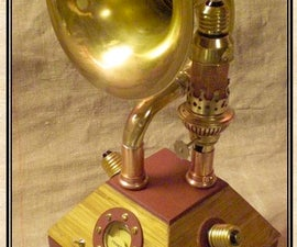 Steampunked FM-receiver  running with amplifying tube