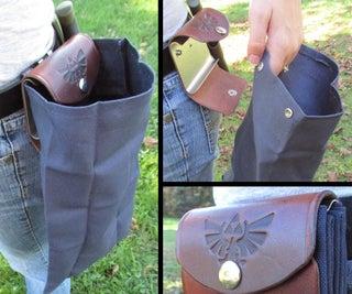 塞尔达灵感的可折叠皮革和帆布腰带袋