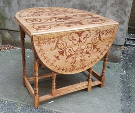 Drop Leaf Table With Faux Inlay