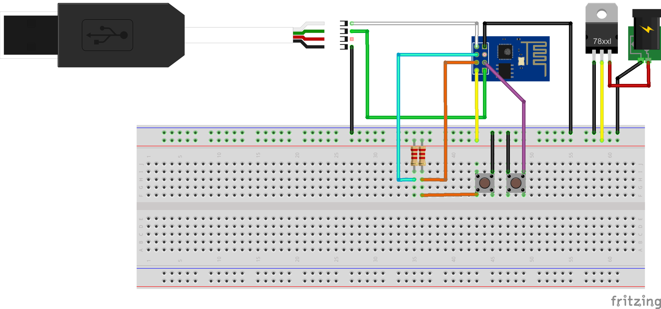 Picture of Connecting ESP-01 to USB-TTL Adapter and 3.3 Voltage Regulator