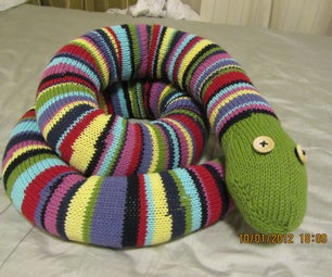 Enormous Stripey Knitted Snake