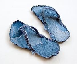 Indoor Bigfoot jeans recycle flip flops tutorial