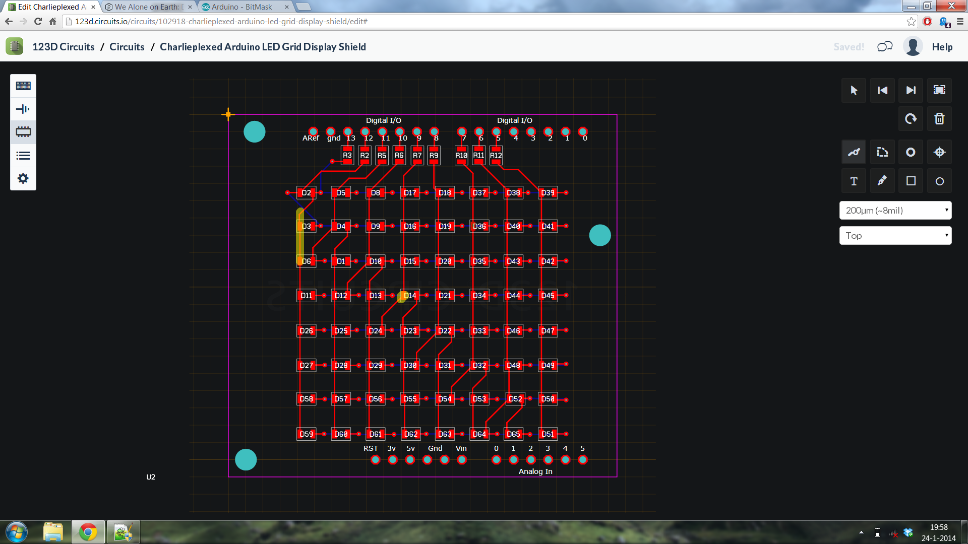 Picture of Charlieplexed Arduino 8x8 LED Grid Display Shield Made and Simulated in 123D Circuits
