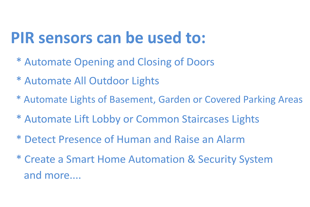 Picture of Areas of Application of PIR Sensors