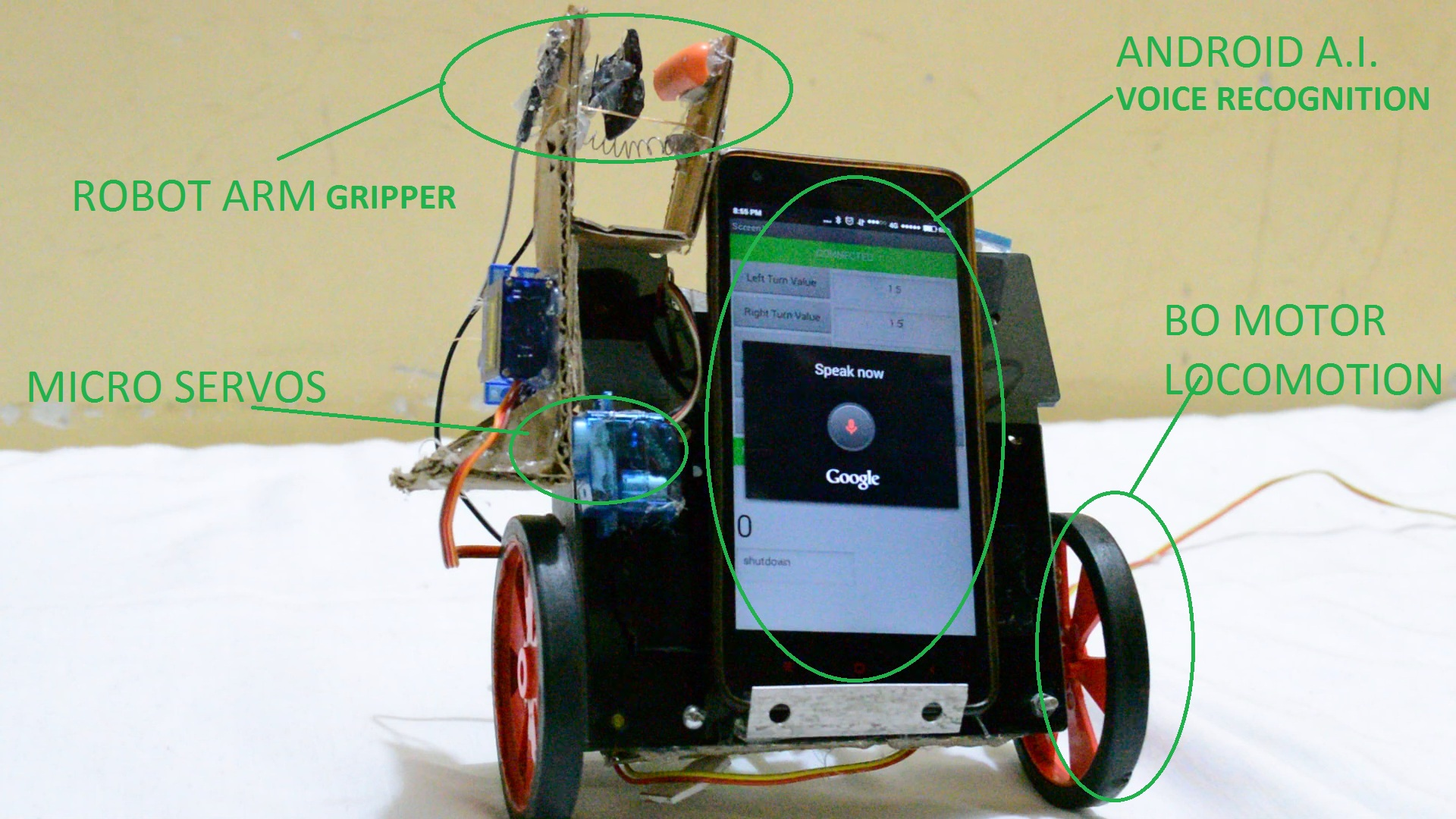 Picture of Android Arduino Assistant Robot (how to Make)DIY