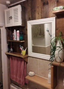 Shelving Pieces to Make and Bath Side Panel Also Towel Rack