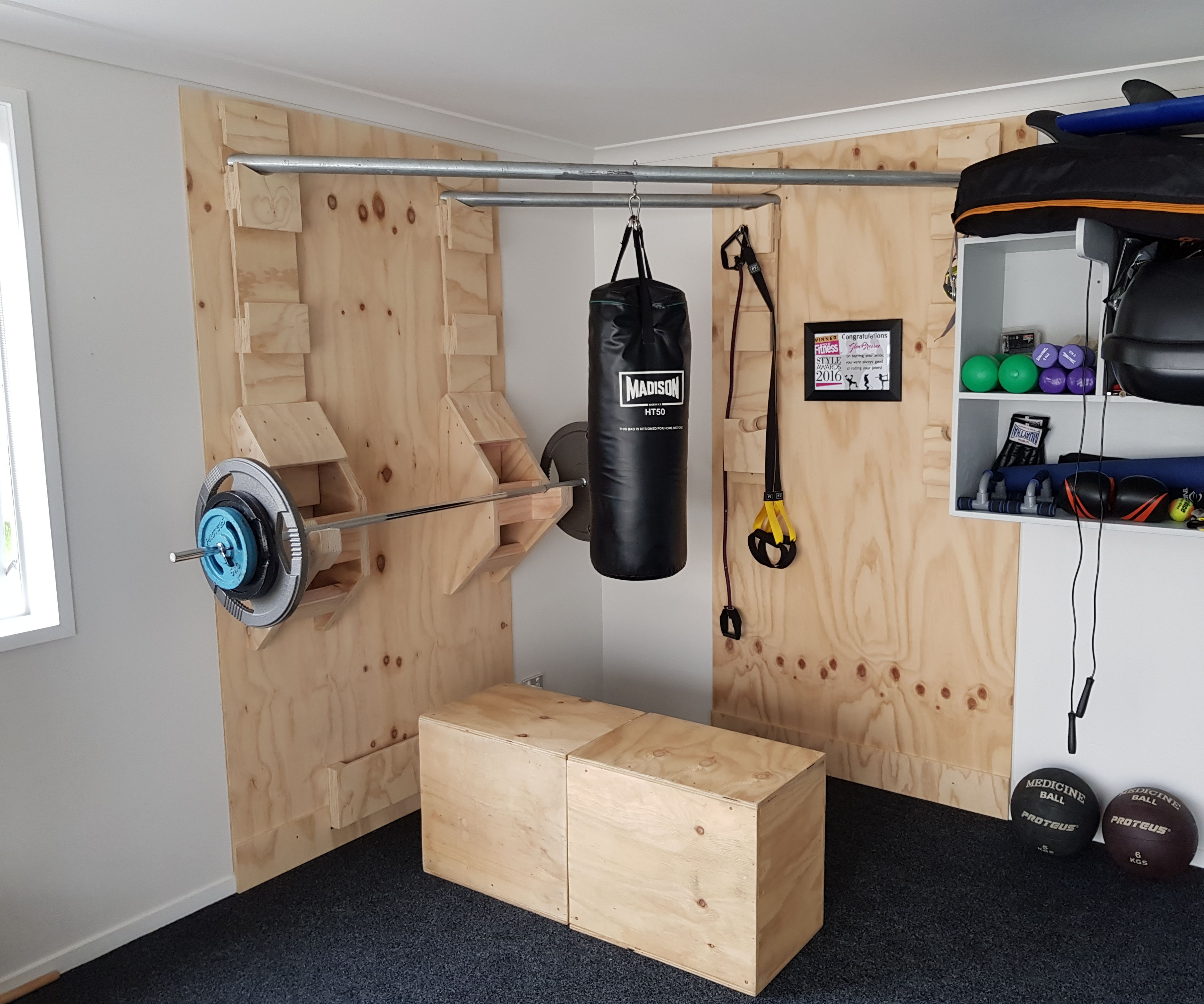 Functional corner home gym steps with pictures