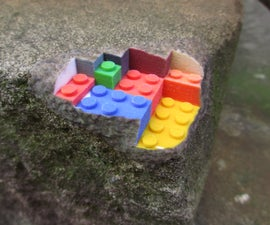 A sandstone block built from lego, blending real objects with 3d prints