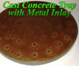 Cast Concrete Tray With Metal Inlay
