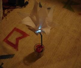 Salt powered LED flower