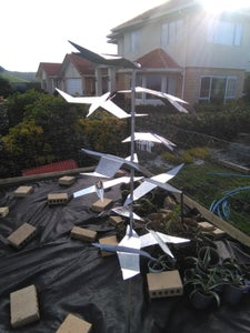 Metal Bird Sculpture From Reclaimed Sheet Steel and Tube