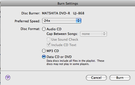 Picture of Burn Settings