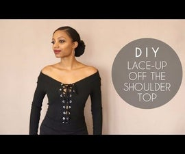 DIY Lace-Up Off the Shoulder Top (No Sewing Required)